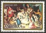 Stamps Andorra -  navidad - pintura de la iglesia de ordino - el nacimiento