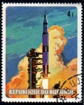 Stamps Africa - Burundi -  Apolo 11: Despegue del Saturno V