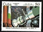 Stamps Cuba -  Dia de la Cosmonautica sovietica: Interkosmos, astronauta bulgaro
