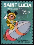 Stamps America - Saint Lucia -  10 Aniversario paseo lunar Mickey Mouse