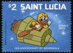 Sellos del Mundo : America : Santa_Lucía : 10 Aniversario paseo lunar Donald Duck