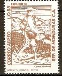 Stamps Honduras -  EXPOSICIÒN  FILATÈLICA  HONDUREÑA.  MENSAJERO.