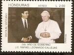 Stamps of the world : Honduras :  SEGUNDO  AÑO  DE  GOBIERNO  DEL  LIC.  RAFAEL  LEONARDO  CALLEJAS.  VISITA  AL  VATICANO.