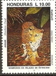 Stamps of the world : Honduras :  MAMÌFEROS  EN  PELIGRO  DE  EXTINCIÒN.  JAGUAR.