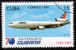 Stamps of the world : Cuba :  1999 70 Aniversario Cubana de Aviacion: Dc 10