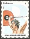 Sellos de America - Cuba -  juegos olimpicos barcelona 92, halterofilia