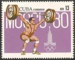 Sellos de America - Cuba -  pre olimpico moscu 80, halterofilia