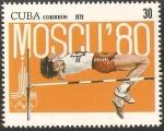 Stamps Cuba -  pre olimpico moscu 80, salto de altura