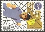 Stamps : Europe : Spain :  2732 - Prevencion accidentes laborales, caida de un obrero de la construcción sobre red protectora