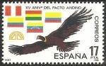 Stamps : Europe : Spain :  2778 - XV Anivº del Pacto Andino. Condor y banderas de los países del pacto