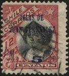 Sellos del Mundo : America : Chile : Cristóbal Colón. 1905 12 centavos. Sobreimpreso ISLAS DE JUAN FERNÁNDEZ 1910. Sobretasa 5 centavos.