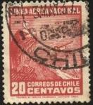 Sellos del Mundo : America : Chile : LAN CHILE. Cóndor y aeroplano en la cordillera.