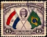 Sellos del Mundo : America : Paraguay : Paz del Chaco. Presidente Vargas árbitro. Banderas de Paraguay y Brasil.