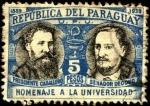 Stamps Paraguay -  50 aniversario de la Universidad. Presidente Caballero, Senador Decoud.