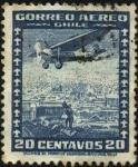 Stamps Chile -  Aeroplano sobre SANTIAGO.