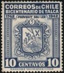 Sellos del Mundo : America : Chile : Bicentenario de TALCA. Escudo de armas.