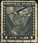 Sellos de America - Chile -  Dos aeroplanos sobrevolando el globo terráqueo.