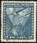 Stamps Chile -  Dos aeroplanos sobrevolando el globo terráqueo.