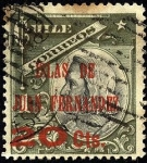 Stamps America - Chile -  Cristóbal Colón . Sobreimpreso ISLAS DE JUAN FERNÁNDEZ 1910. Sobretasa 20 Centavos.