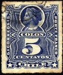 Stamps America - Chile -  Cristóbal Colón. Sello ruleteado, porte franco.