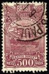Stamps Brazil -  SANTOS DUMONT, año 1906 vuelo de 220 metros del biplano '14 BIS'  y altura máxima 15 mts en el campo