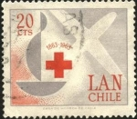 Sellos de America - Chile -  LAN CHILE, centenario de la CRUZ ROJA. Silueta de avión aircraft.
