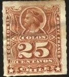 Sellos de America - Chile -  Cristóbal Colón. Sello ruleteado. Porte Franco.