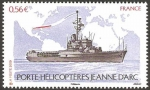 Stamps France -  porta helicopteros jeanne d'arc