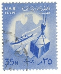Stamps Egypt -  barco y grua