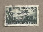 Sellos de Europa - Rumania -  Avión y trabajadores
