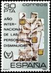 Sellos de Europa - España -  ESPAÑA 1981 2612 Sello Nuevo Año Internacional de las Personas Disminuidas Yvert2240 Scott2233