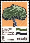 Stamps Spain -  ESPAÑA 1984 2735 Sello Nuevo Estatuto de Autonomia Extremadura Yvert2355 Scott2361