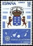 Stamps Spain -  ESPAÑA 1984 2737 Sello Nuevo Estatuto de Autonomia Canarias c/señal charnela Yvert2370 Scott2372