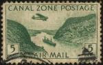 Stamps America - Panama -  CANAL ZONE. Aeroplano sobre el canal de Panamá y barco navegando.
