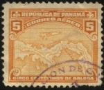 Stamps Panama -  Aeroplano y mapa de Panamá.