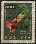 Stamps Bolivia -  Kantuta Bicolor la flor nacional. sobreimpreso sobretasa 1,20 bolivianos.