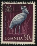 Stamps Africa - Uganda -  Ave zancuda PICOZAPATO -Balaeniceps rex-