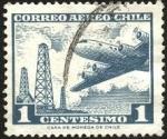 Sellos de America - Chile -  Torres de extracción de petróleo y avión cuatrimotor.