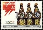 Stamps Spain -  ESPAÑA 1987 2908 Sello Nuevo Nominación Barcelona como sede Olimpica Chimeneas de la Casa Batlló Bar