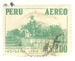 Stamps Peru -  monumento al agricultor indigena