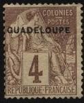 Stamps America - Guadeloupe -  Colonias Francesas, emblema del comercio.