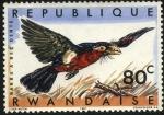 Stamps Africa - Rwanda -  Aves de Rwanda. 'Barbu a Bec Dente'.