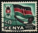 Stamps Africa - Kenya -  1963 año de la independencia de KENIA. Escudo y bandera de Kenia.
