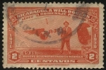 Stamps America - Nicaragua -  WILL ROGERS desembarcando en Managua. 1931. Homenaje de Nicaragua al destacado cowboy, humorista, ac