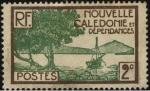 Sellos de Oceania - Nueva Caledonia -  Nueva caledonia, archipiélago de Oceanía. Embarcación en la punta de los manglares.