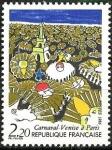 Stamps : Europe : France :  Torre Eiffel y máscaras