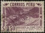 Stamps Peru -  Andenes de Pisac en el entorno de CUSCO. Sistema incaico para el cultivo del maíz.