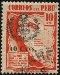 Stamps Peru -  Mapa de Perú con las carreteras en los Andes, las de mayor altura en el mundo. 1938 10 centavos. Sob
