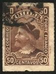 Stamps Chile -  Cristóbal Colón. Sello ruleteado. Porte Franco.