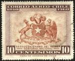 Sellos del Mundo : America : Chile : Escudo de Chile. 150 años del primer gobierno nacional 1810 - 1960.